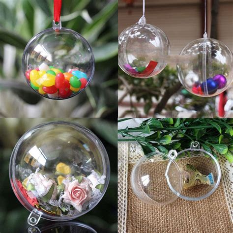 10 x clear fillable candy box christmas bauble xmas tree