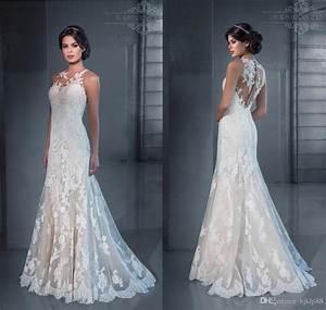 2015 new slim sexy sheer illusion jewel neckline backless With jewel neckline wedding dress