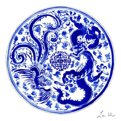 blue and white china l blue and white chinese chinoiserie plate 3 painting by