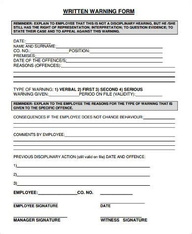 sample written warning forms   ms word