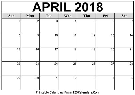 2018 calendar template printable free 5 april 2018 calendar printable template source template