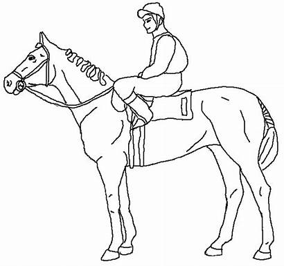 Horse Coloring Pages Race Racing Rider Derby
