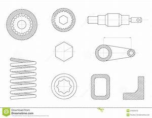 Drawings Of Mechanical Parts Stock Vector - Image: 41654410