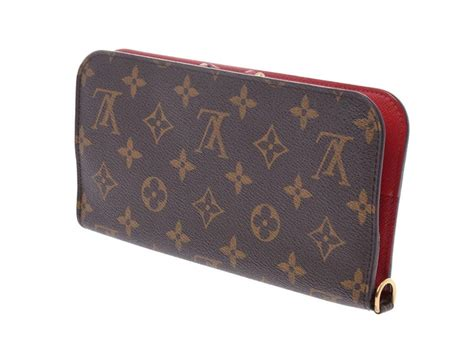 louis vuitton monogram monogram rouge insolite  womens genuine leather long purse