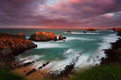 Cantabria Spain Coast Seascape Sunset Rock Coastline