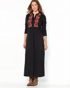 robe longue grande taille droite boho manche 3 4 la robe With robe droite grande taille