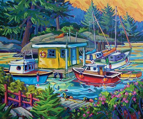 Boat Canvas Gibsons Bc by Greta Guzek Canada Coast Paintings Iv