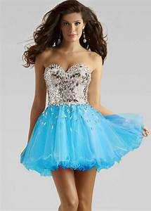 Cheap Short Sparkly Bodice Blue Layered Tulle Party Dress ...