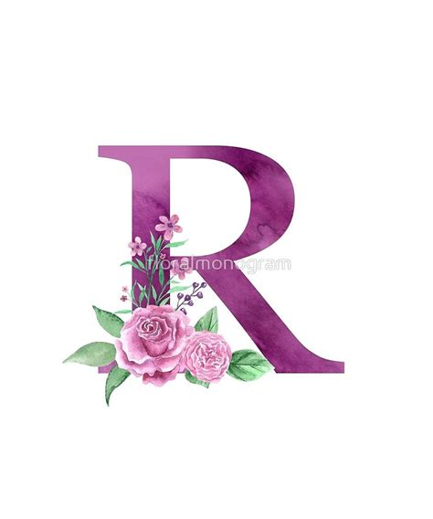 monogram  lovely rose bouquet sticker  floralmonogram flower letters floral letters