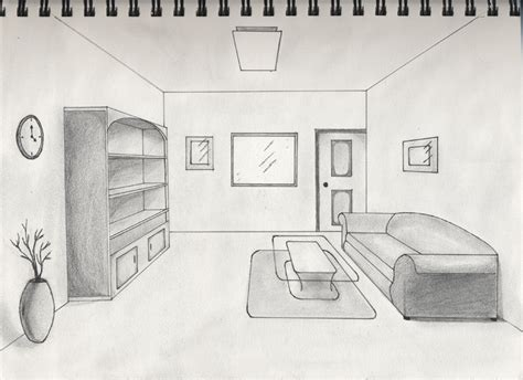 One Point Perspective Living Room Drawing : One Point Perspective Interior By Timluv On Deviantart