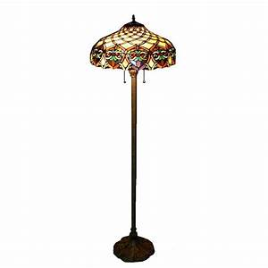 Warehouse of tiffany 60 in antique bronze ariel stained for Glass lantern floor lamp