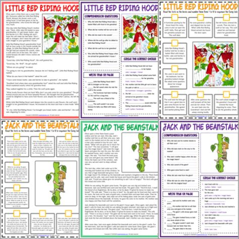 esl printable reading comprehension worksheets  exercises