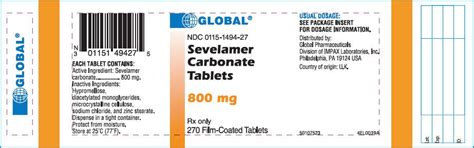Sevelamer - FDA prescribing information, side effects and uses
