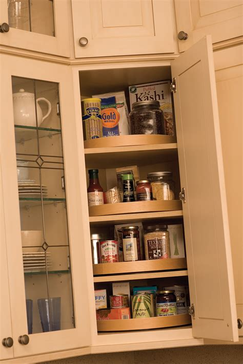 a corner wall cabinet is an ideal location for a stack of