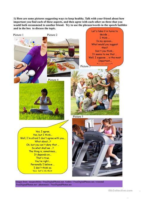 healthy lifestyles speaking worksheet  esl
