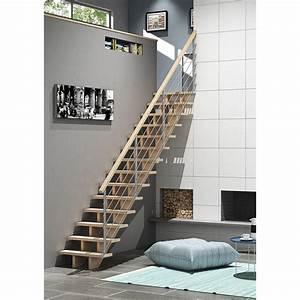 Escalier Droit Bois : escalier droit allure tube structure bois marche bois ~ Premium-room.com Idées de Décoration