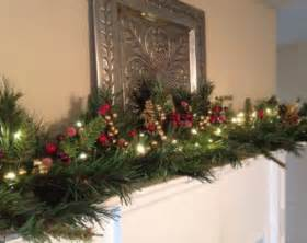 christmas mantle garland pine garland with gold leaf gold