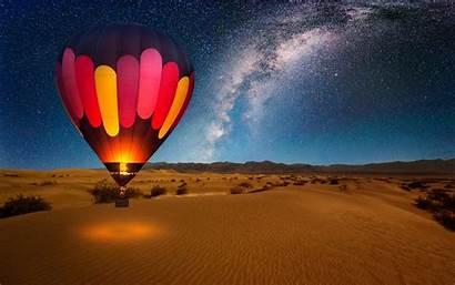 Balloon Air Night Desert Sky Stars Milky