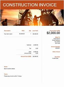 Work Invoice Template Word Free Construction Invoice Template Download Now Get