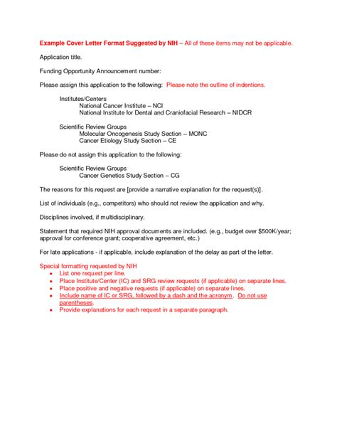 Nih Grant Resubmission Cover Letter by Cover Letter Nih Cover Letter Always Use A Convincing