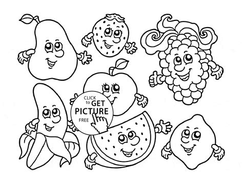 Cartoon Fruits Coloring Page For Kids, Fruits Coloring