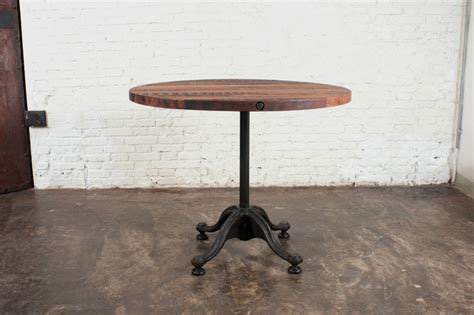 small round pub table v42 small round reclaimed wood bistro table modern
