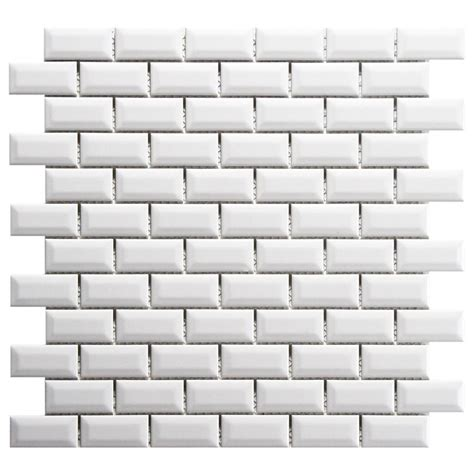 4 X 8 Glossy White Subway Tile by Merola Tile Metro Subway Beveled Glossy White 12 In X 12
