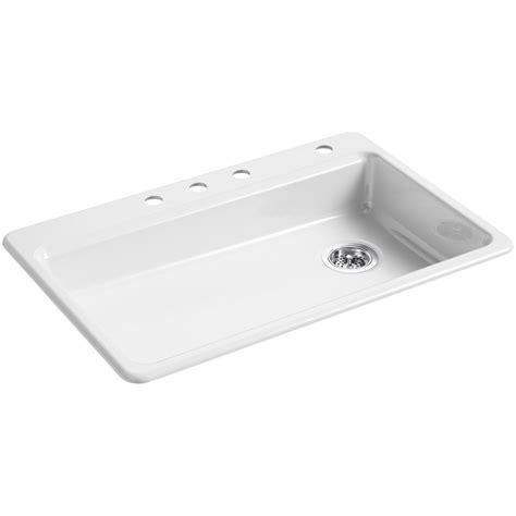 kohler drop in kitchen sinks kohler riverby drop in cast iron 33 in 4 single 8814