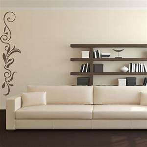Vertical straight line floral embellishment wall stickers