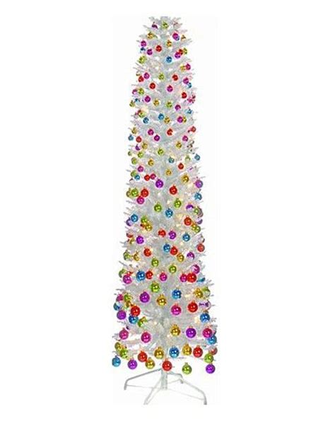 ft white iridescent ready decorated pencil christmas