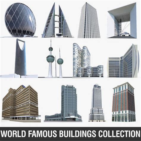 world top architects list world famous buildings collection 12 pack 3d model