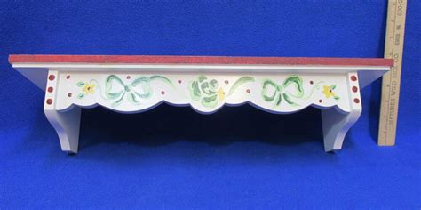 wood wall hanging shelf white  painted bow ribbon design plate display groove ebay