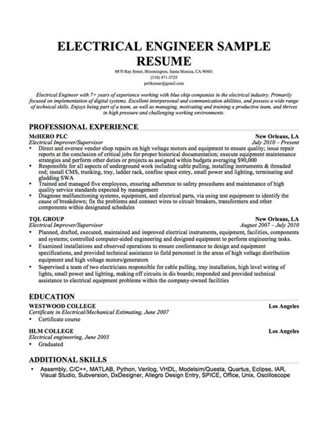 Electrical Engineer Resume Exle by Electrical Engineer Resume Sle Resume Genius