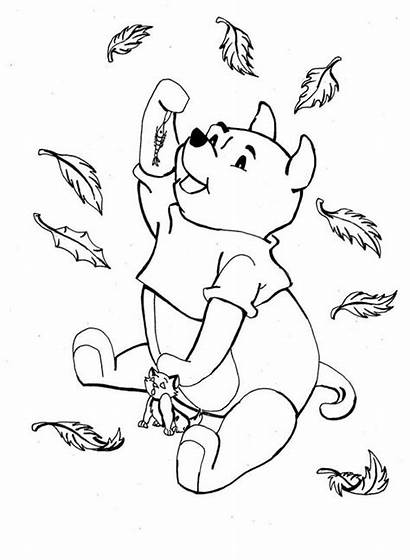 Coloring Fall Disney Pooh Winnie Leaves Pages