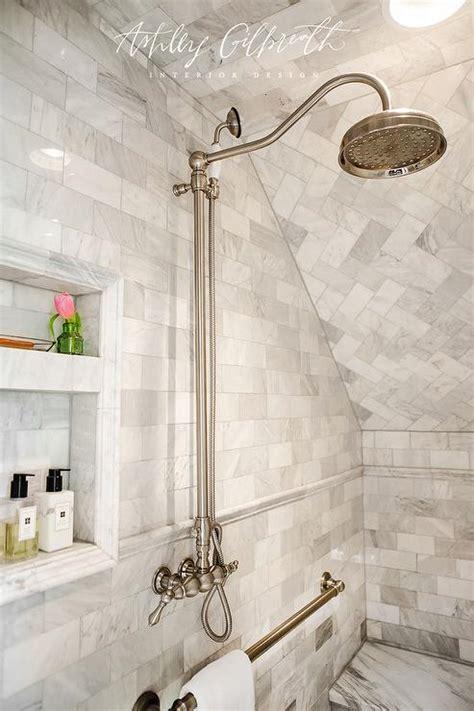 marble walk  shower  towel bar transitional bathroom
