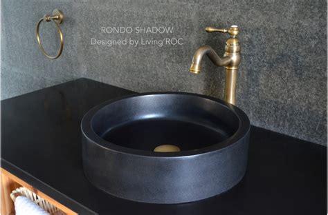 black granite vessel bathroom sinks 16 quot round black granite stone vessel sink rondo shadow