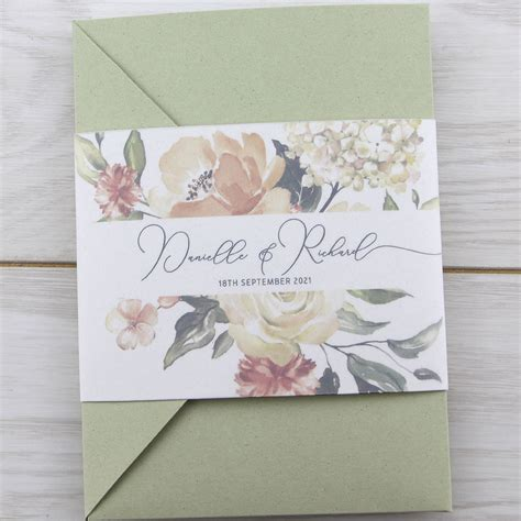 bryony peaches pocketfold wedding invitation pure