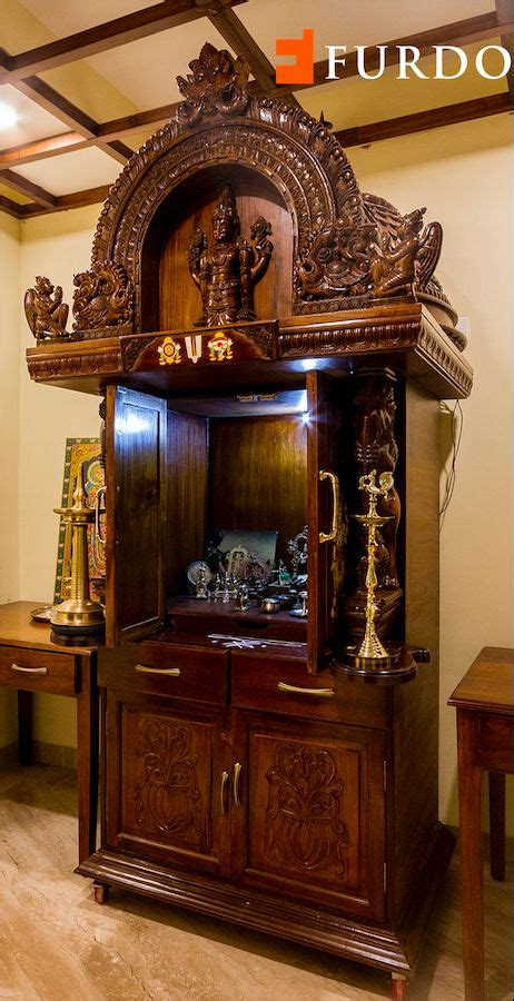 magnificent wooden hand carved puja unit  elaborate
