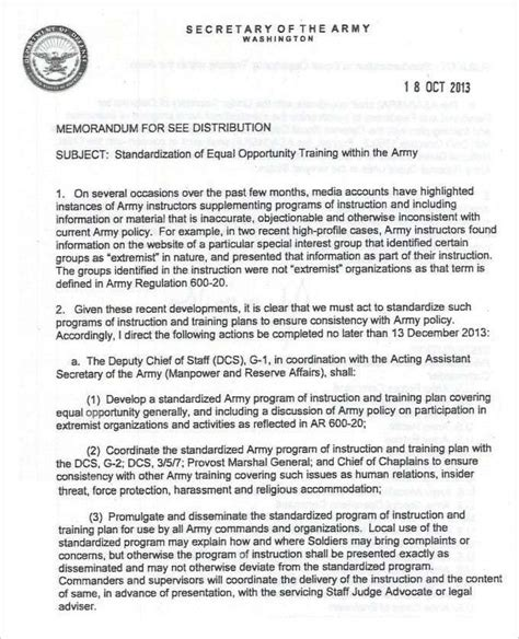 army memorandum template  memo template memorandum