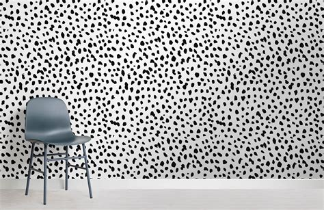 black  white dalmatian speckle wall mural murals