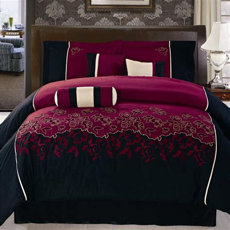 15pc peony embroidery burgundy comforter set w