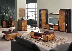 Decoration salon meuble bois for Idee deco cuisine avec meuble tv bois massif
