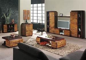 Decoration salon meuble bois for Idee deco meuble bois