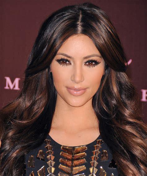 kim kardashian long wavy formal hairstyle dark auburn
