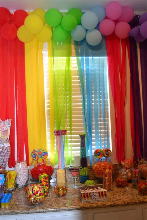 rainbow candy bar candyland party sweet sweet