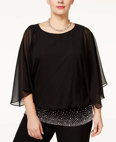 chiffon blouse plus size msk plus size embellished chiffon blouse tops