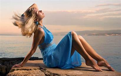 Blonde Woman Beach Tanning Sun Fitness Beauty