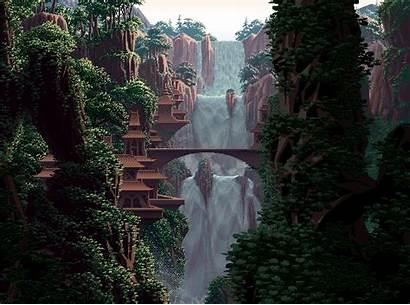 Pixel Jungle Anime Cycling Landschaft Waterfalls Google