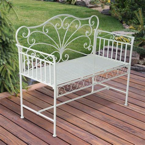 park garden bench white metal frame backrest outdoor patio