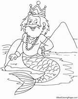 Merman Coloring King sketch template